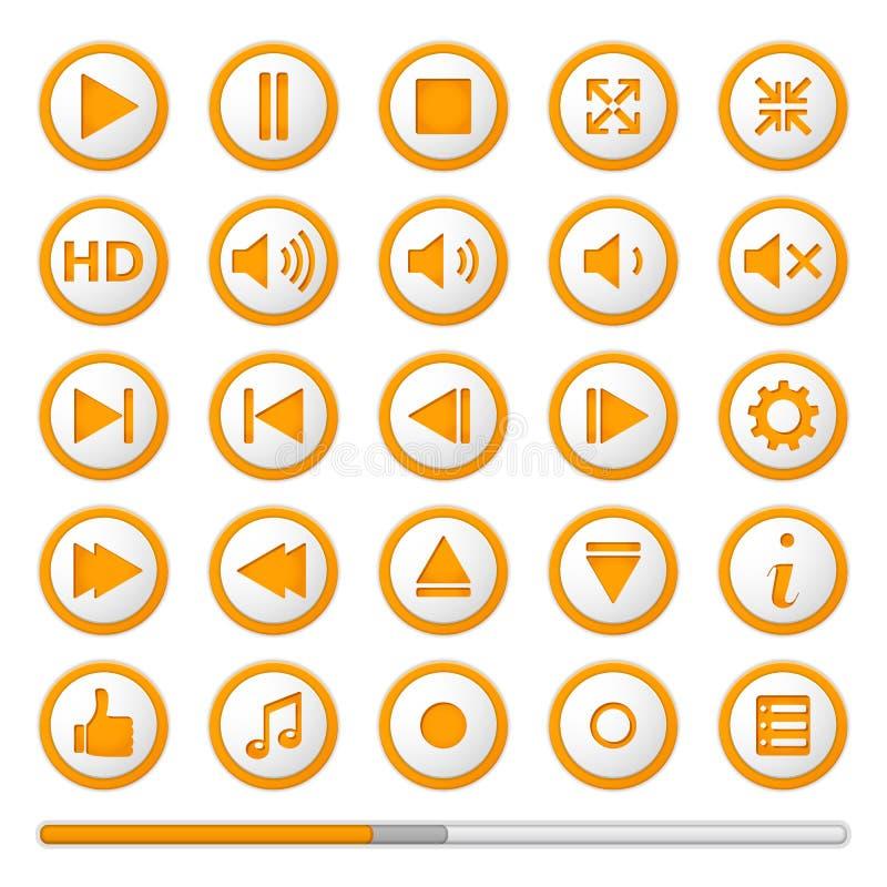 Boutons oranges de Media Player illustration libre de droits
