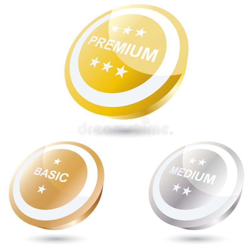 boutons ou graphismes à trois dimensions illustration de vecteur