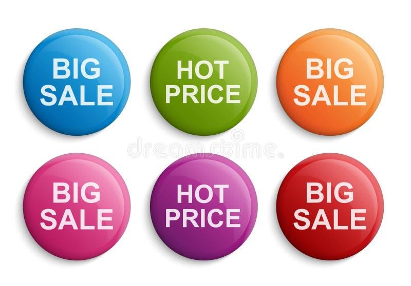 Boutons ou insignes colorés de cercle Éléments de conception Grande vente, remise illustration de vecteur