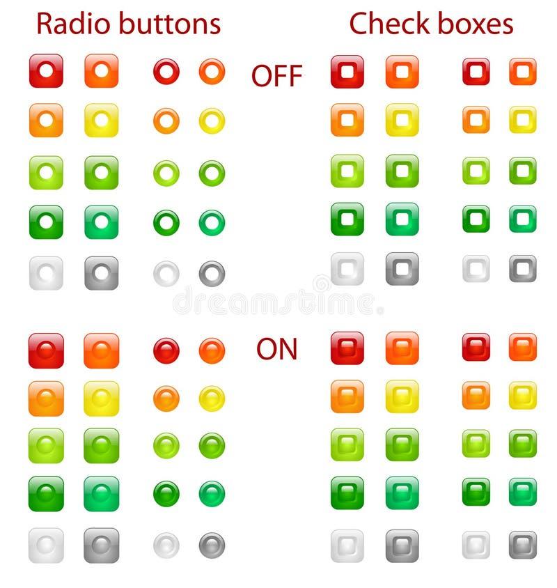 Boutons par radio et cadres de contrôle illustration stock