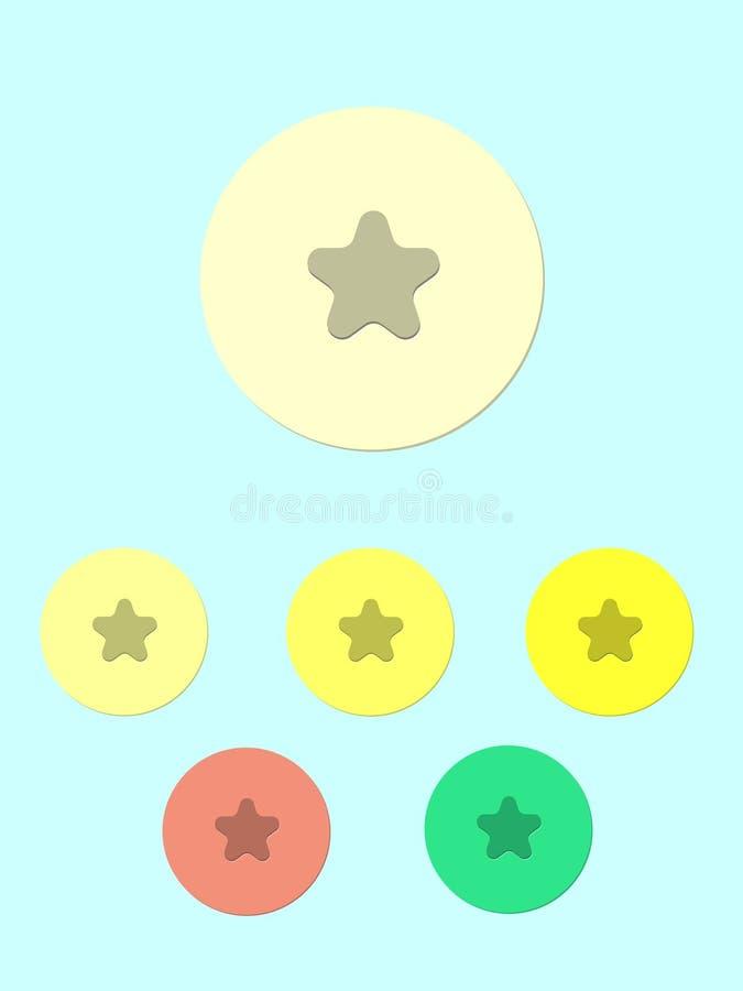 Boutons plats d'icône d'actions de vecteur divers d'étoile illustration libre de droits