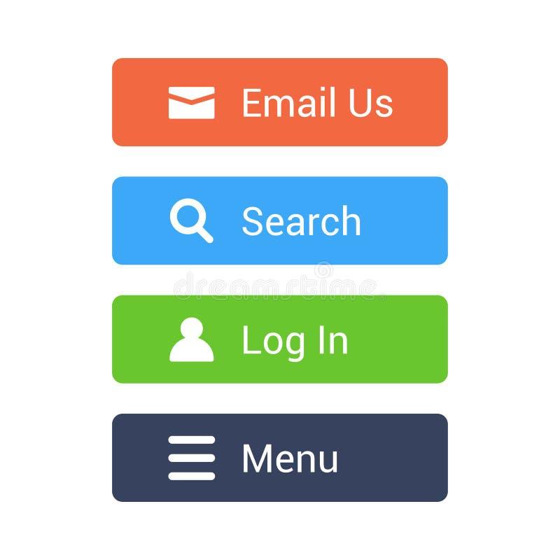 Boutons plats réglés Les boutons d'email, de recherche, d'identifiez-vous, de menu pour le Web et l'APP conçoivent illustration libre de droits