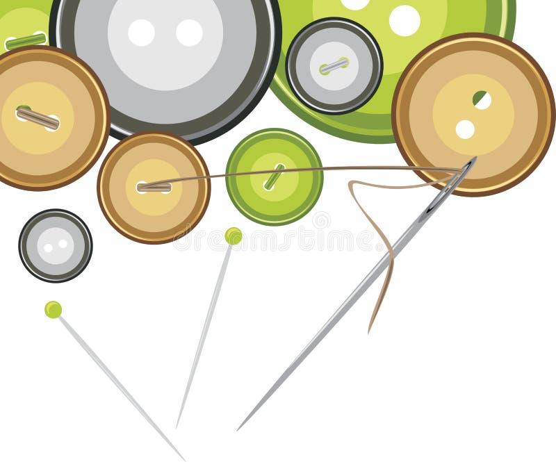 Boutons, pointeau de couture avec l'amorçage illustration libre de droits