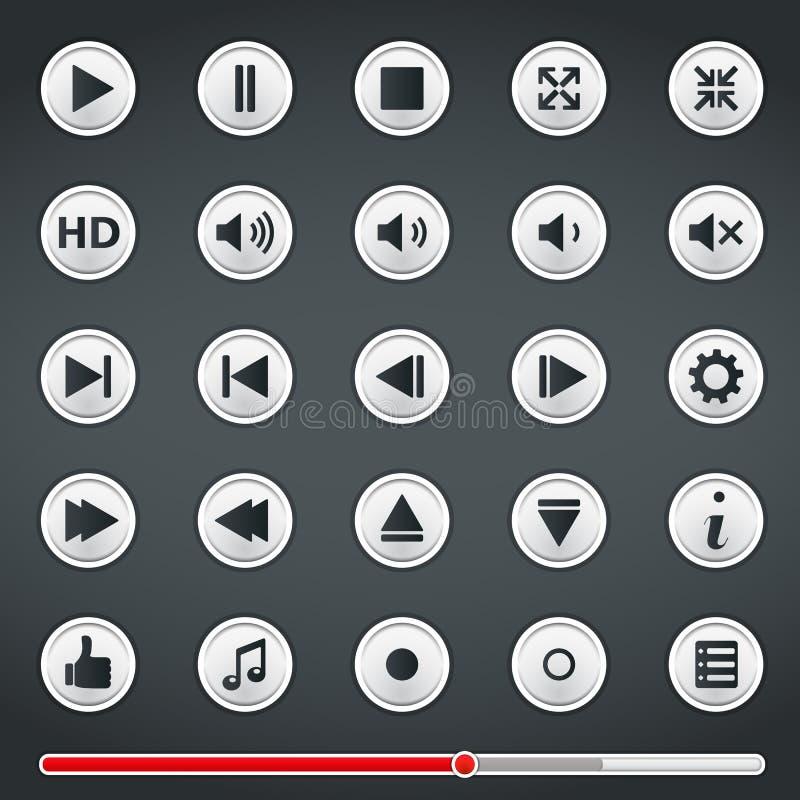 Boutons pour Media Player illustration libre de droits
