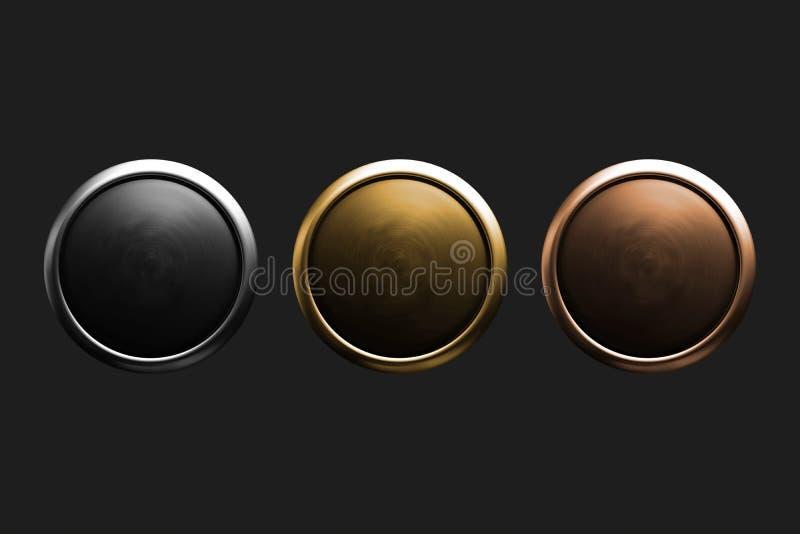 Boutons poussoirs 3D métalliques brillants dans les couleurs d'argent, d'or et en bronze, sur un fond gris-foncé illustration de vecteur