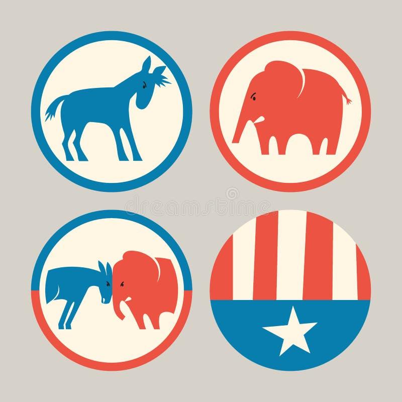 Boutons républicains d'âne d'éléphant et de démocrate illustration stock