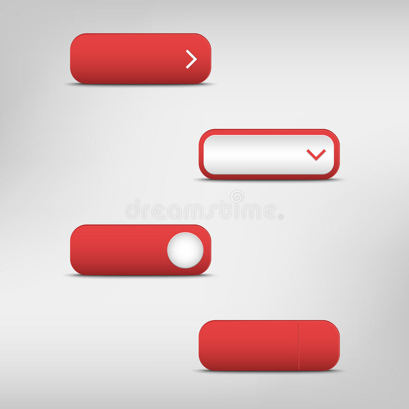 Boutons rectangulaires vides rouges illustration stock