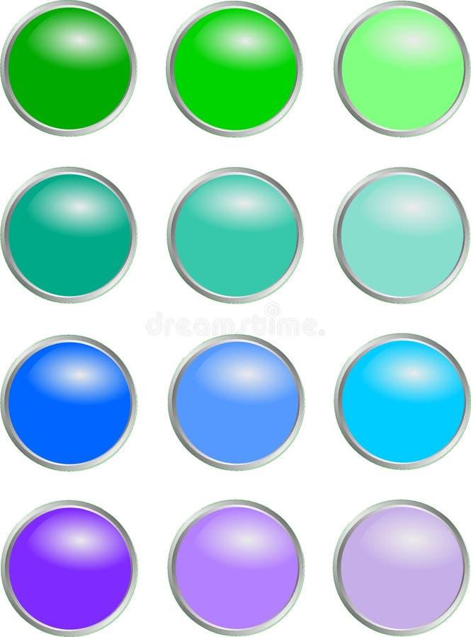 Boutons ronds - couleurs froides illustration libre de droits