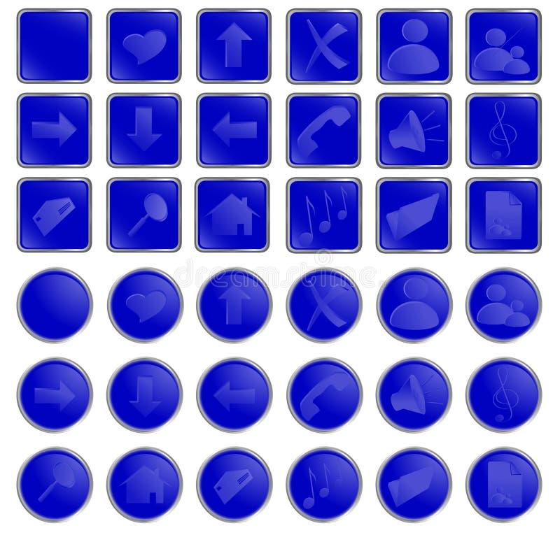 Boutons ronds de vecteur et carrés bleus de Web illustration stock