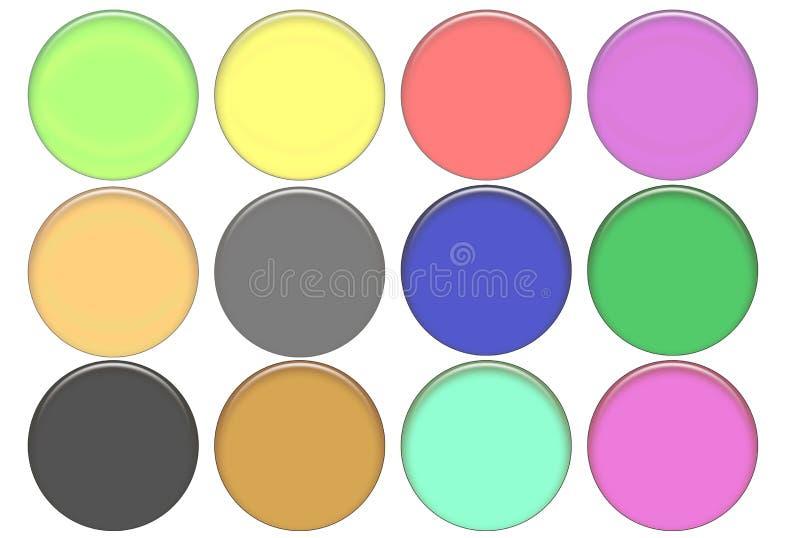 Boutons ronds réglés en verre de couleur illustration stock