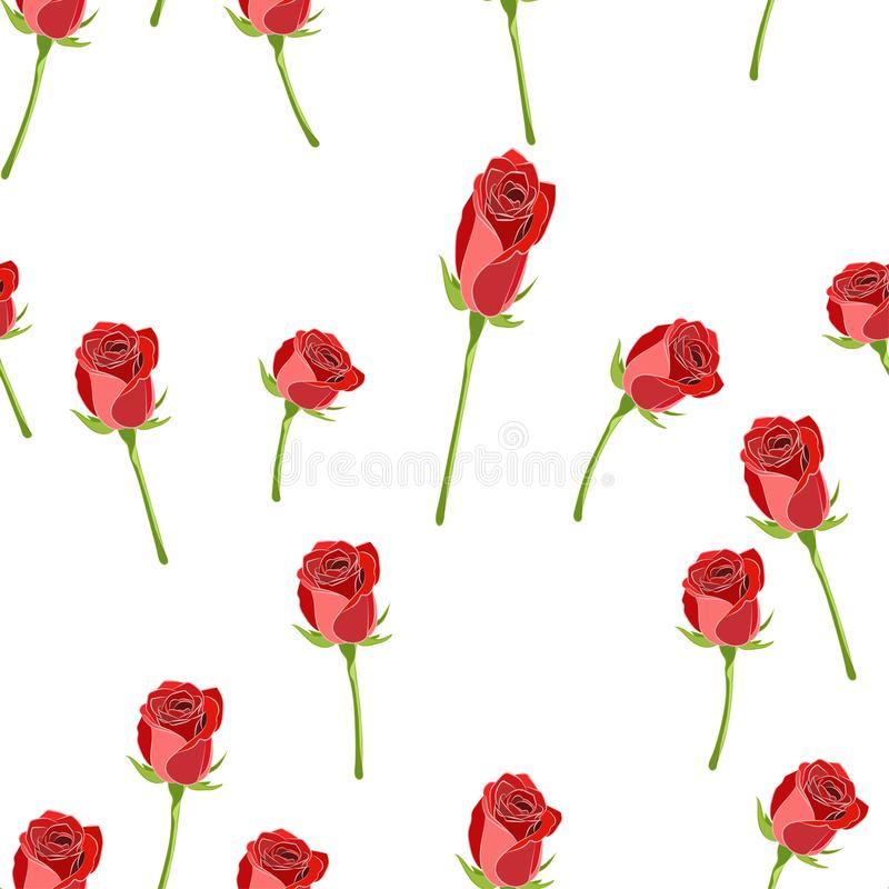 Boutons roses rouges sur le modèle sans couture de vecteur de tige sur un fond blanc illustration libre de droits