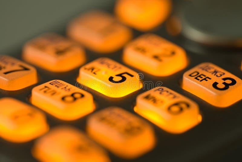 Boutons rougeoyants de téléphone photographie stock libre de droits