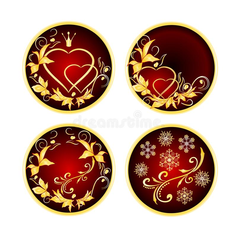 Boutons rouges avec les coeurs d'or d'ornements avec l'illustration d'or de vecteur de cru de feuilles editable illustration libre de droits