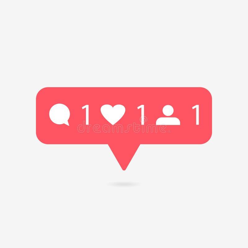 Boutons rouges de coeur et de parole Compteur dans des médias sociaux sur un fond gris Illustration de vecteur illustration de vecteur