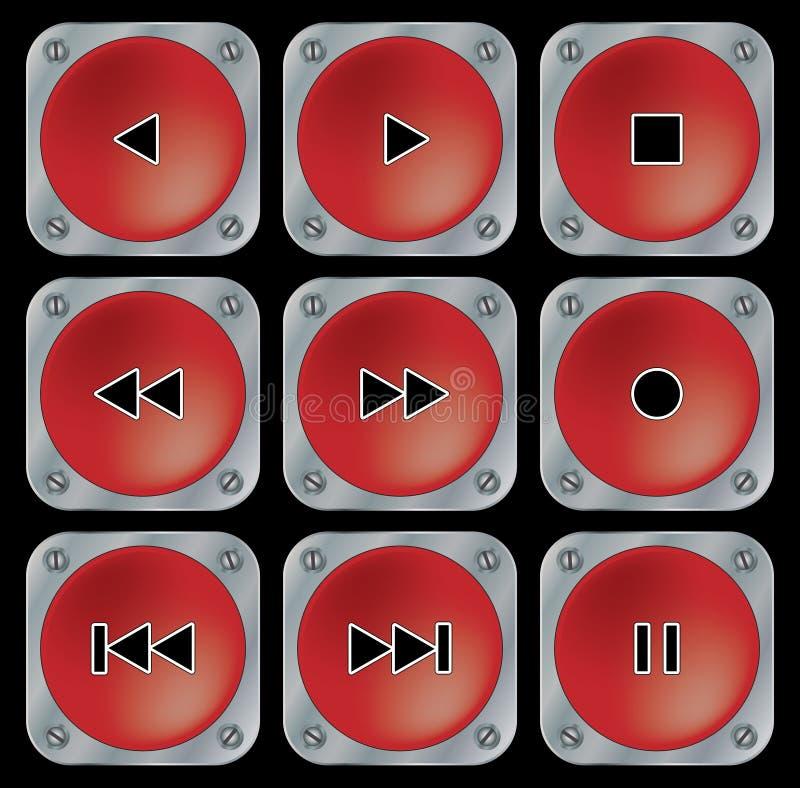 Boutons rouges de navigation. illustration stock