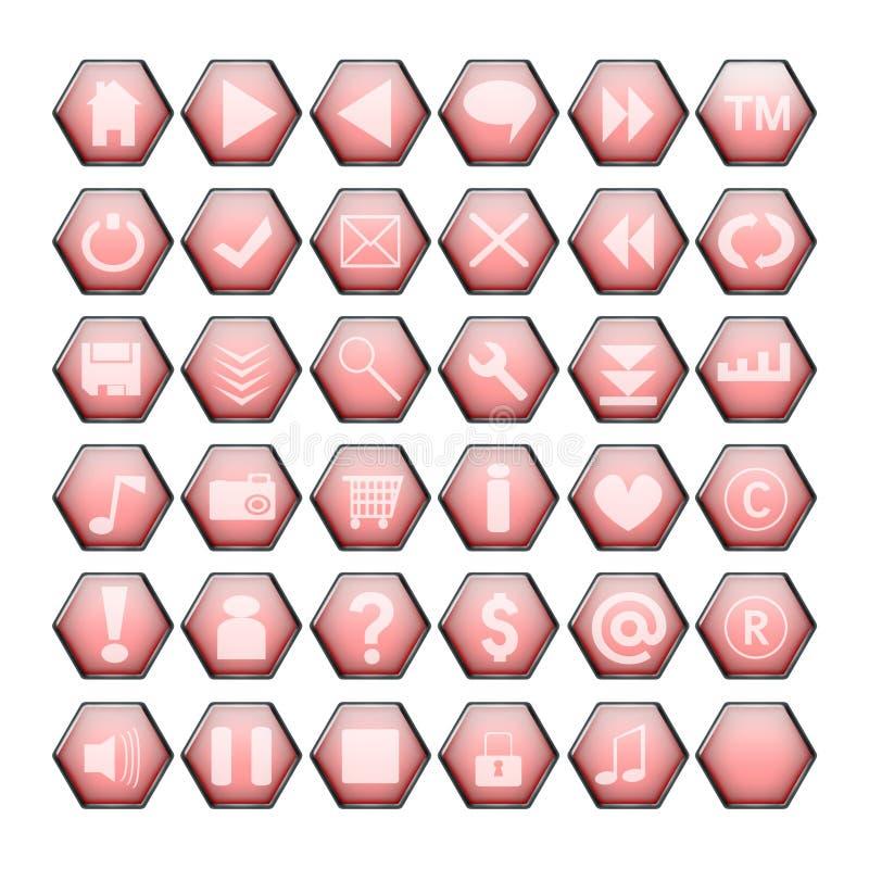 Boutons rouges de Web illustration stock