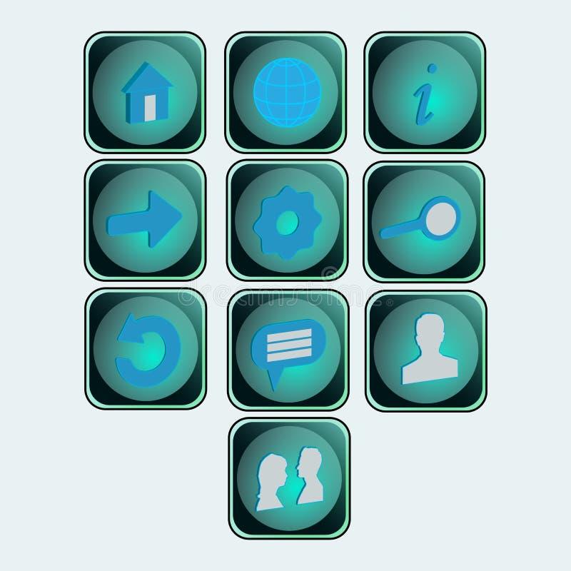 Boutons sociaux d'icônes illustration de vecteur