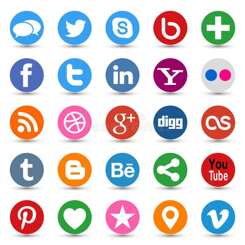 Boutons sociaux de media illustration stock