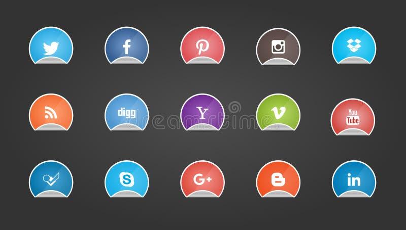 Boutons sociaux de media sur la forme d'autocollant illustration de vecteur