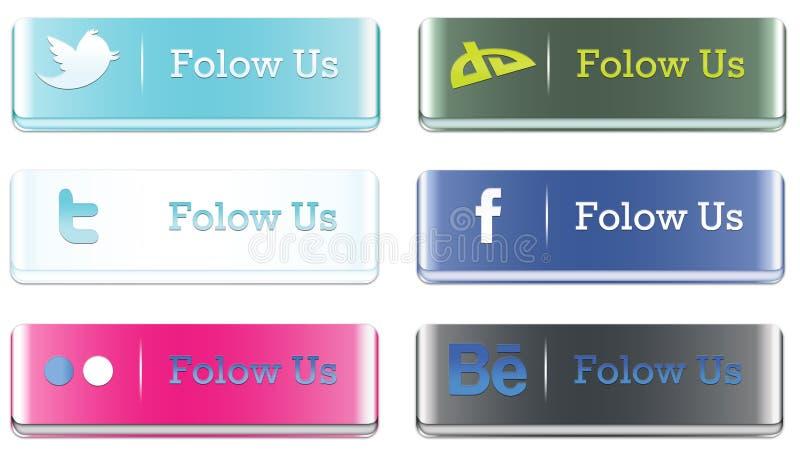 boutons sociaux des medias 3D illustration stock