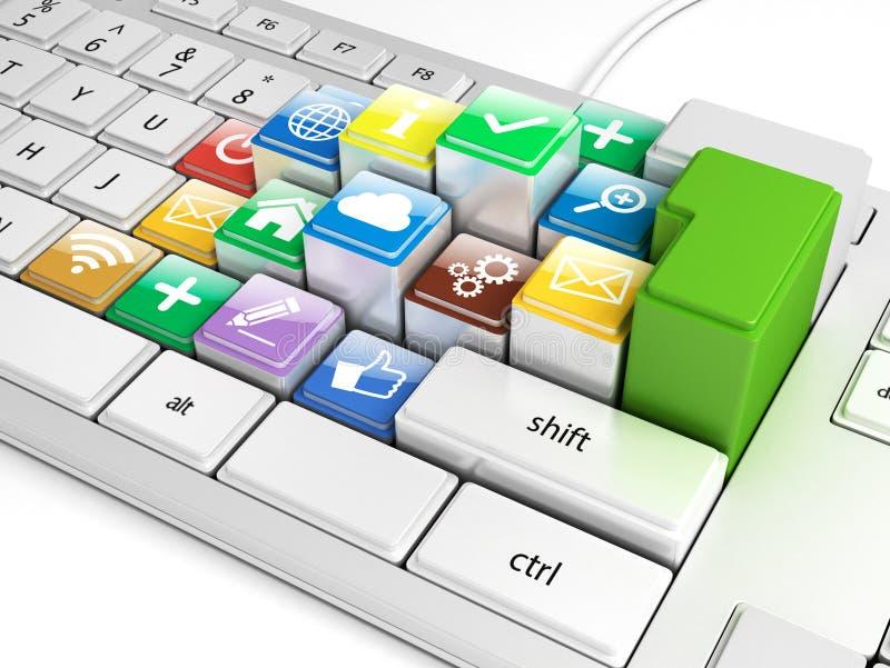 Boutons sur un clavier avec les icônes sociales de media illustration de vecteur