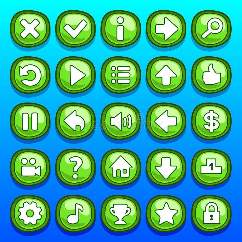 Boutons verts de jeu réglés illustration libre de droits