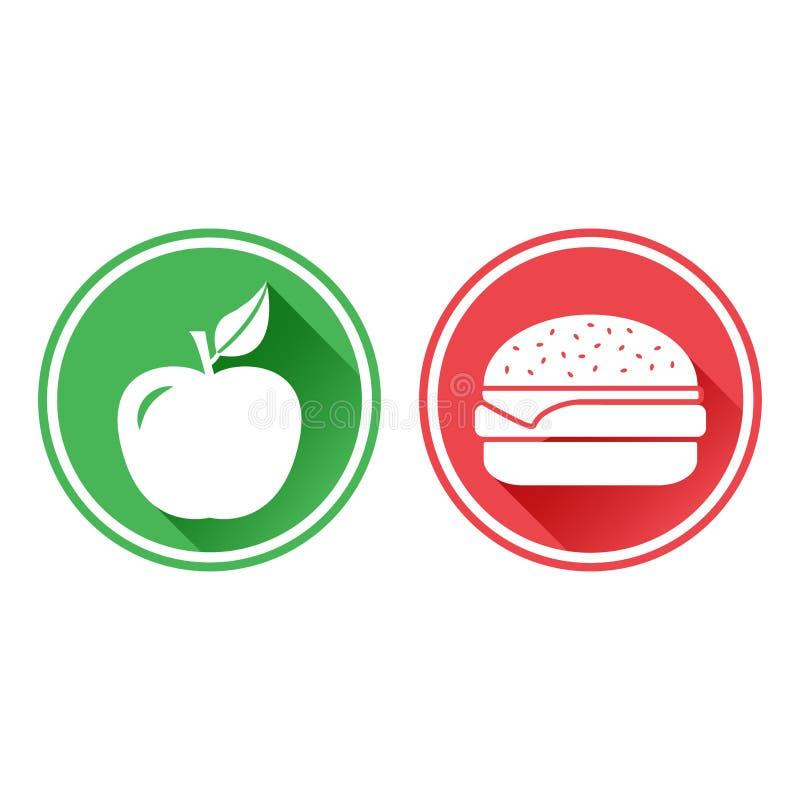 Boutons verts et rouges Icône blanche de pomme et de cheeseburger Le choix entre la nourriture malsaine et la nourriture saine Ve illustration stock