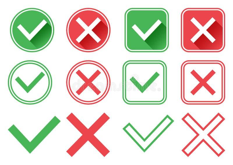 Boutons verts et rouges Verdissez le repère de contrôle et la Croix-Rouge Droit et mal Illustration de vecteur illustration de vecteur