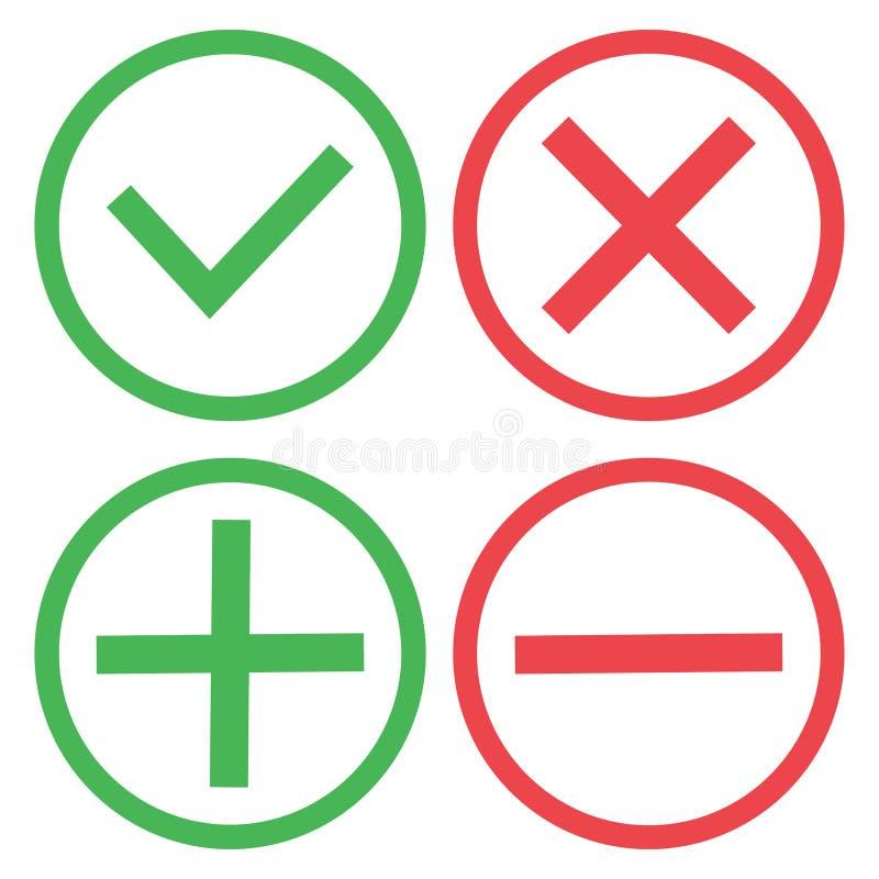 Boutons verts et rouges Verdissez le rep?re de contr?le et la Croix-Rouge Vert plus et rouge sans Vecteur illustration stock