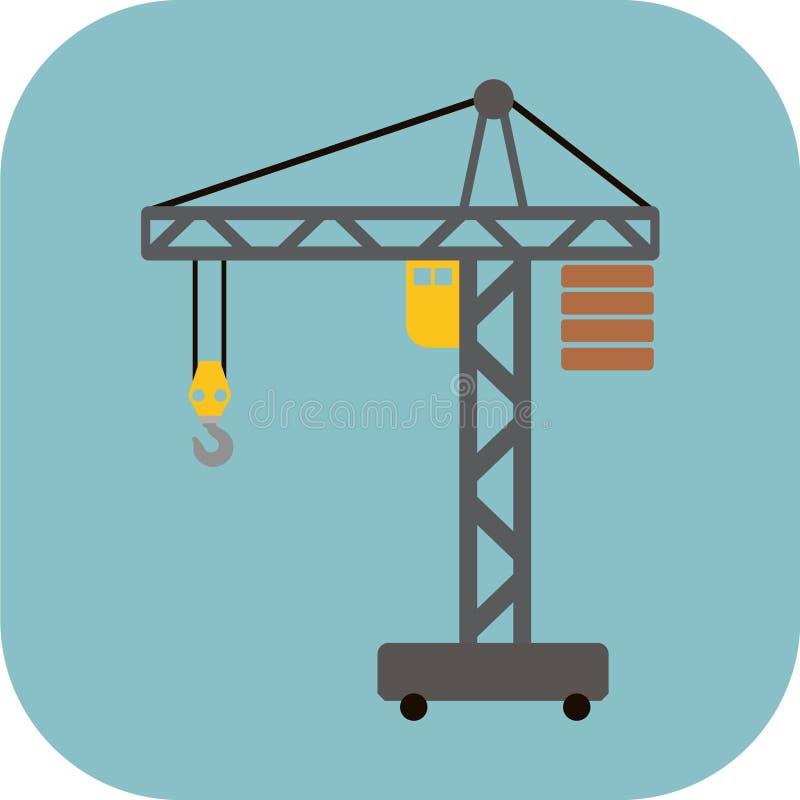 Bouw Crane Flat Icon royalty-vrije stock fotografie