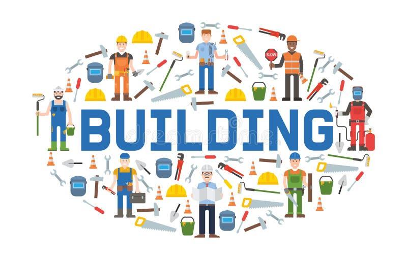 Bouw de banner vectorillustratie van de diensthulpmiddelen Huisreparatie De apparatuur van de bouw Handlevering voor huis royalty-vrije illustratie
