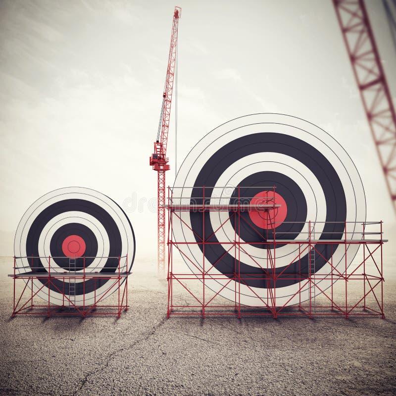 Bouw een bedrijfsdoel en bereik belangrijkere doelstellingen Gemengde media 3D illustratie royalty-vrije illustratie