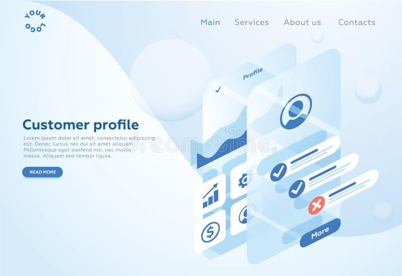 Bouw een klantenprofiel in een mobiele toepassing Gegevensanalyse en bureausituaties Isometrische Vectorillustratie stock illustratie