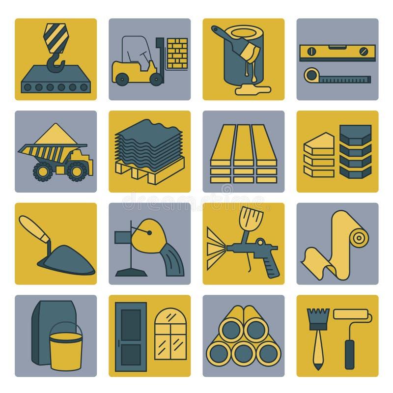 Bouw en het eindigen de reeks van het materialenpictogram Dun Lijnontwerp stock illustratie