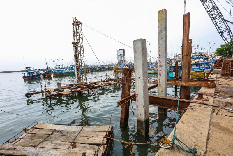Bouw in Galle-Haven, Sri Lanka stock foto