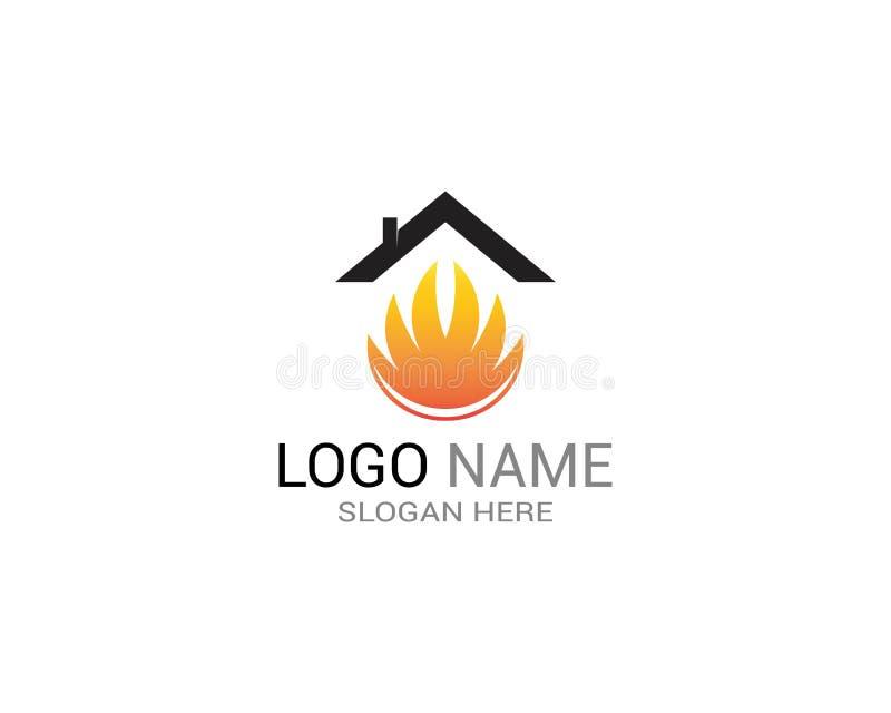 Bouw het embleemmalplaatje van de huisbrand vector illustratie