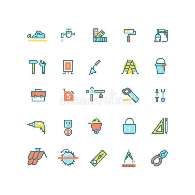 Bouw, huisreparatie, de vector lineaire geplaatste pictogrammen van de bouwhulpmiddelen vector illustratie