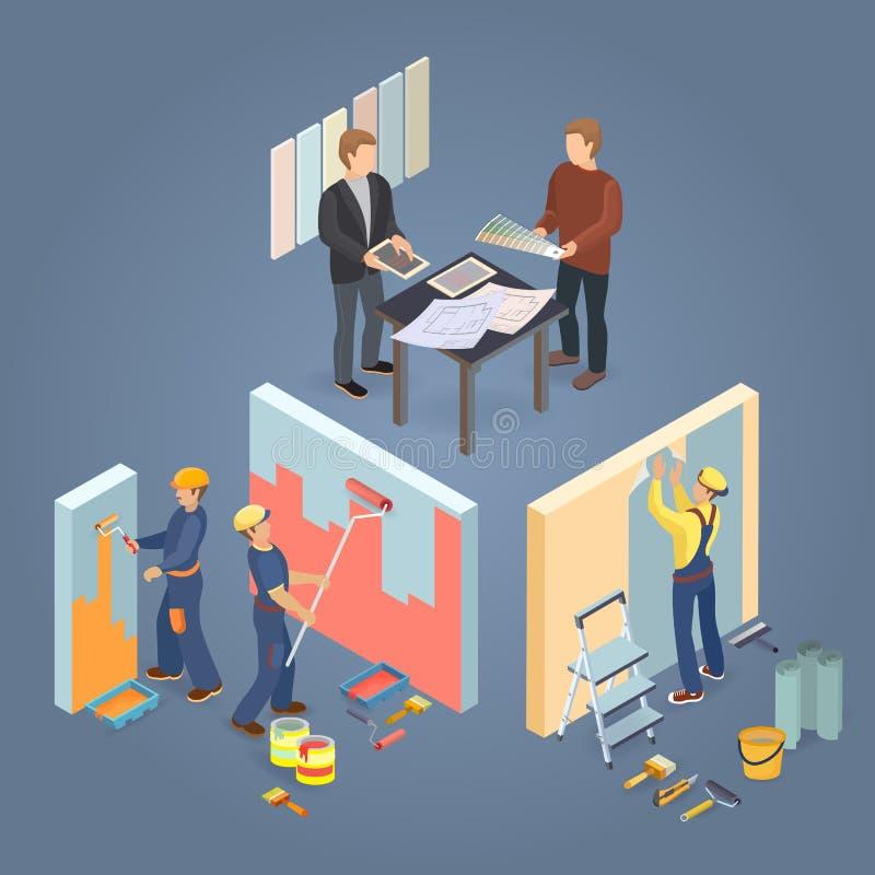 Bouw of huisreparatiesconcept Isometrische Arbeiders, hulpmiddelen Vector royalty-vrije illustratie