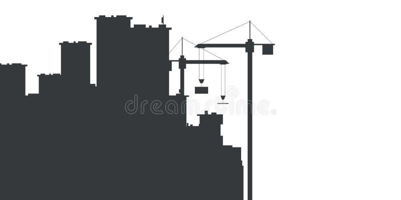 Bouw met de bouw van kranen Vector illustratie stock illustratie