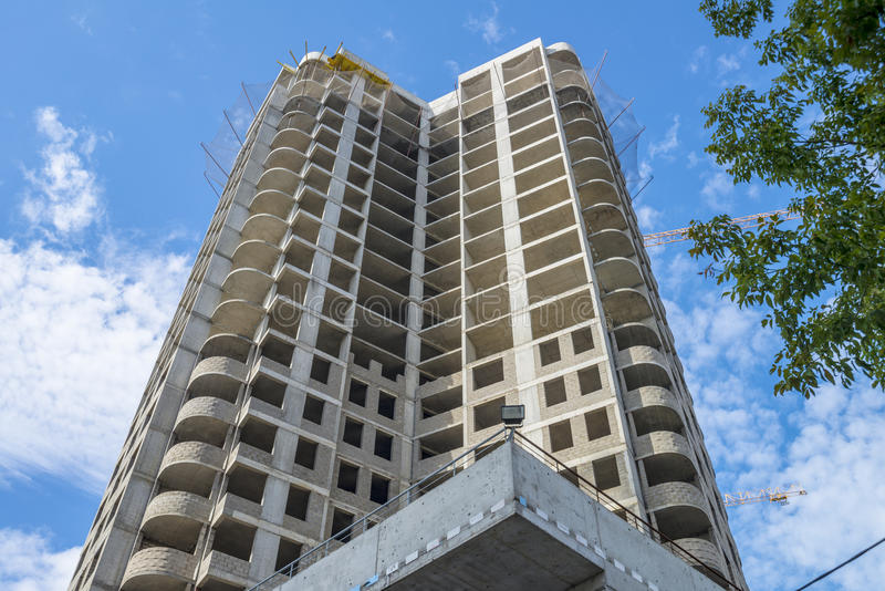 Bouw modern high-rise flatgebouw royalty-vrije stock foto