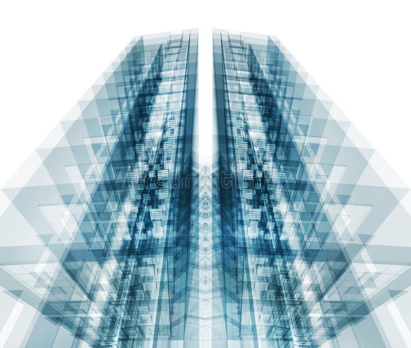 Bouw moderne architectuur het 3d teruggeven stock illustratie