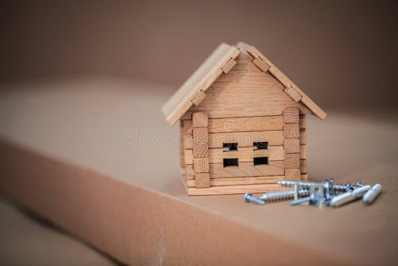 Bouw nieuw huis Sluit omhoog van huisblauwdruk met ook de bouw royalty-vrije stock afbeeldingen