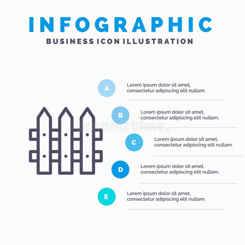 Bouw, Omheining, het pictogram van de Tuinlijn met infographicsachtergrond van de 5 stappenpresentatie stock illustratie