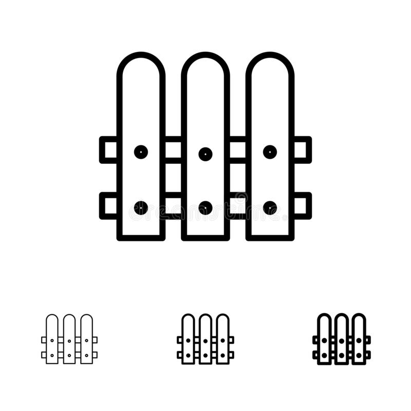 Bouw, Omheining, het pictogramreeks van de Huis Gewaagde en dunne zwarte lijn vector illustratie
