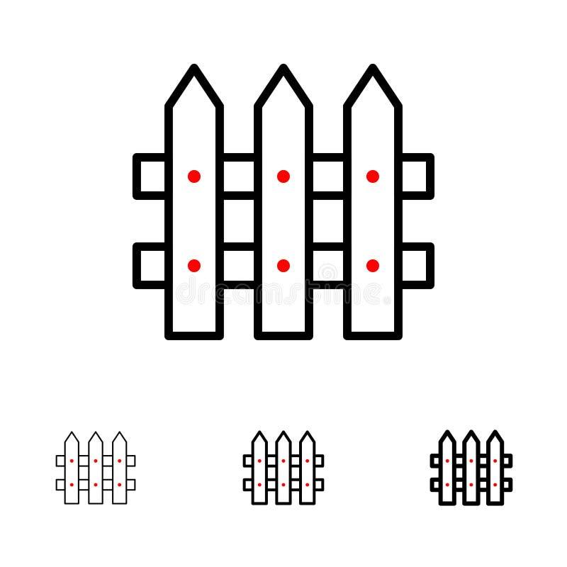 Bouw, Omheining, het pictogramreeks van de Tuin Gewaagde en dunne zwarte lijn vector illustratie