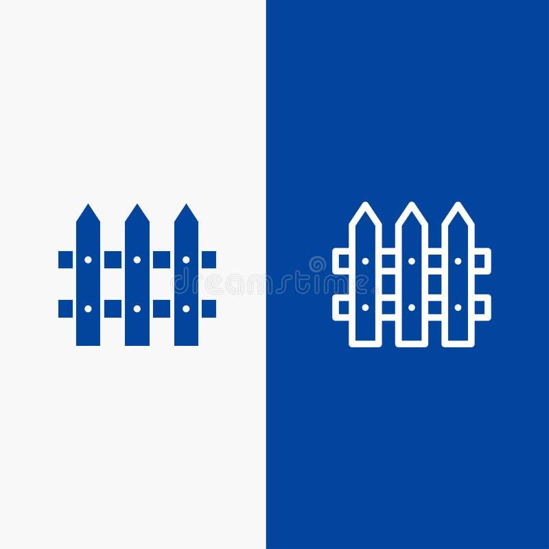 Bouw, Omheining, Tuinlijn en Lijn van de het pictogram Blauwe banner van Glyph de Stevige en Stevige het pictogram Blauwe banner  royalty-vrije illustratie