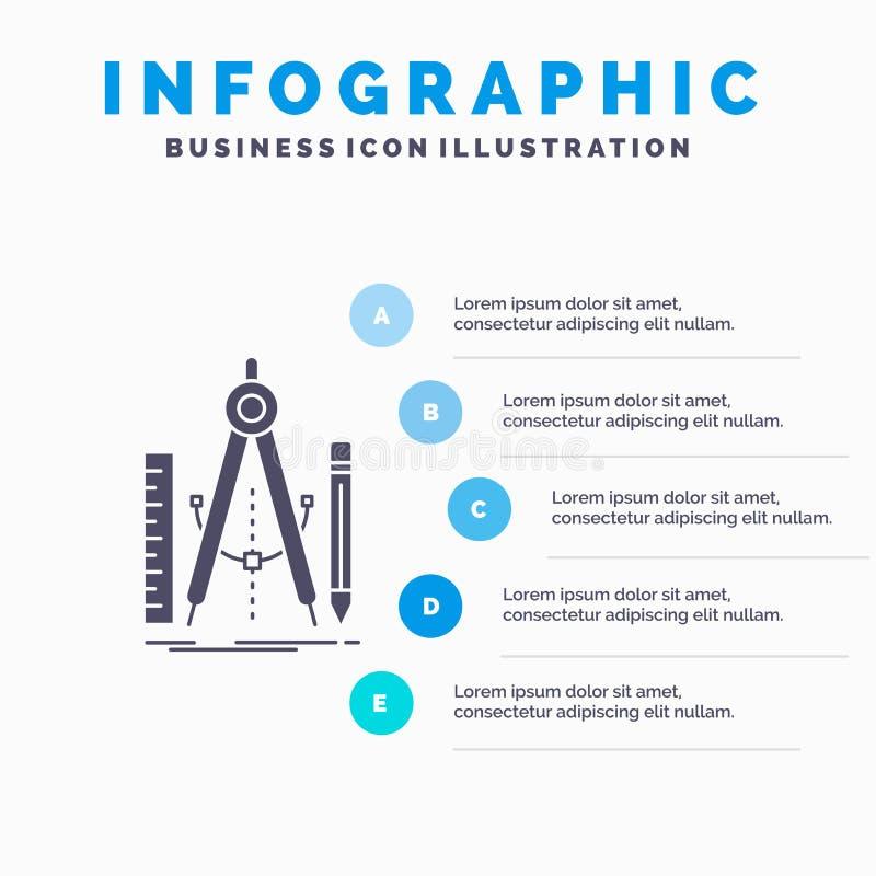 Bouw, ontwerp, meetkunde, wiskunde, het Malplaatje van hulpmiddelinfographics voor Website en Presentatie GLyph Grijs pictogram m royalty-vrije illustratie