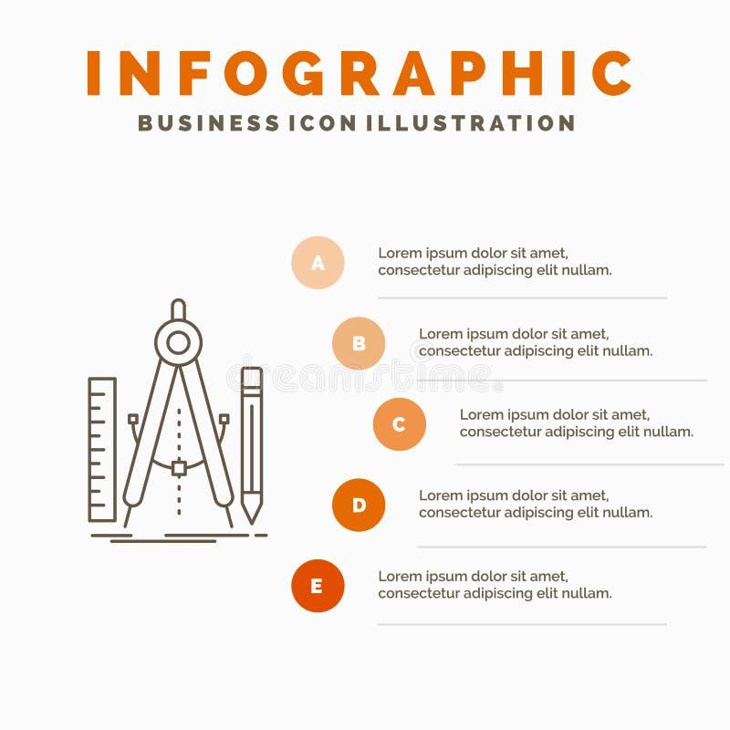 Bouw, ontwerp, meetkunde, wiskunde, het Malplaatje van hulpmiddelinfographics voor Website en Presentatie r stock illustratie