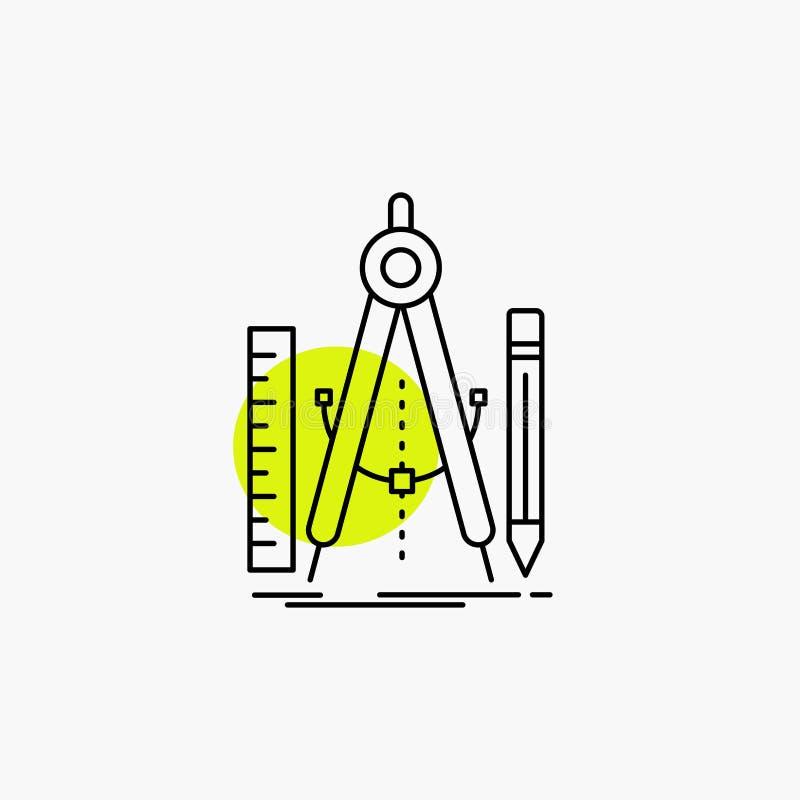 Bouw, ontwerp, meetkunde, wiskunde, het Pictogram van de hulpmiddellijn stock illustratie