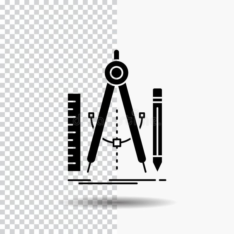 Bouw, ontwerp, meetkunde, wiskunde, het Pictogram van hulpmiddelglyph op Transparante Achtergrond Zwart pictogram vector illustratie